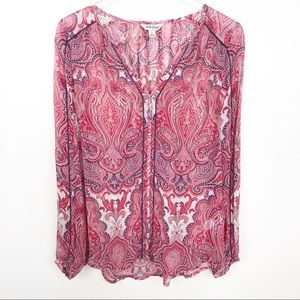 LUCKY BRAND l High Low Paisley Tunic Blouse
